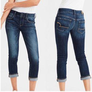 AEO Dark Wash Artist Crop Stretch Jeans 6